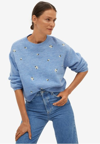 Mango blue Knit Embroidered Sweater F1926AAA4A4E92GS_1