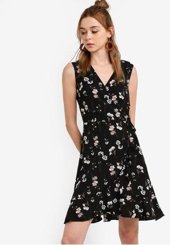 Something Borrowed 黑色 Sleeveless Ruffled Wrap Dress 53881AA390F87AGS_1