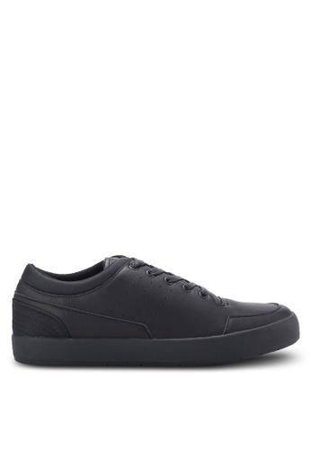 ZALORA black Essential Faux Leather Sneakers 6D936SH0E8E4CEGS_1