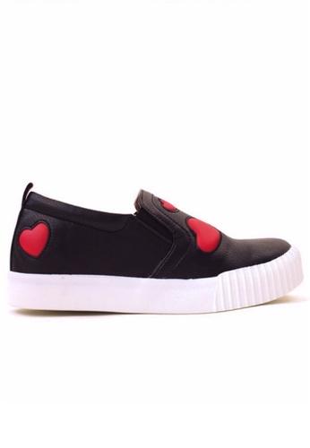Crystal Korea Fashion black Korean New Love Pattern Light Shoes CR681SH2V08HHK_1