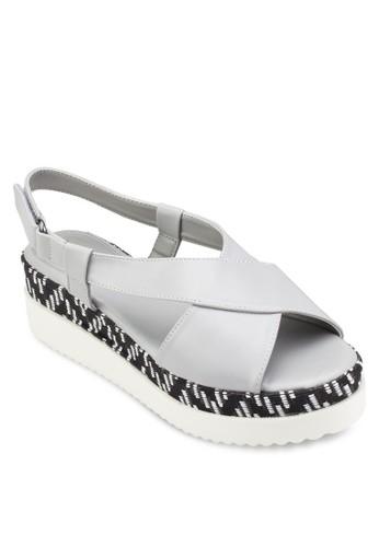 印花拼接厚底涼鞋, esprit 手錶女鞋, 楔形涼鞋