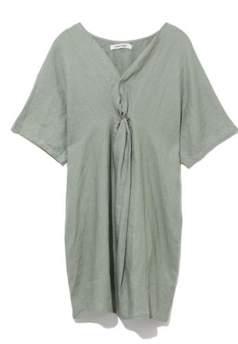 GREENISHPINK green Twist front relax dress. 9BB89AA9C85E1AGS_1