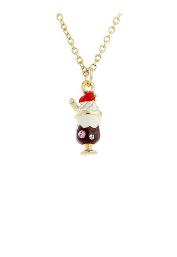 Glamorousky silver Glistering Chocolate Ice-cream Pendant with Pink and Silver CZ and Necklace 413C1AC60CE494GS_1