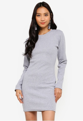 fc6916319e MISSGUIDED grey Ribbed Long Sleeve Bodycon Mini Dress BAD97AA8E00833GS 1