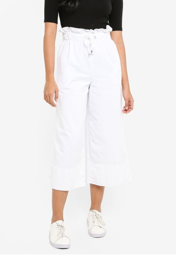 TOPSHOP white Moto Draw Tie Cropped Wide Leg Jeans 64970AA56325F0GS_1
