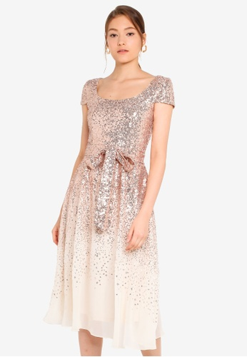 b00429db Buy Goddiva Sequin & Chiffon Belted Midi Dress Online on ZALORA Singapore