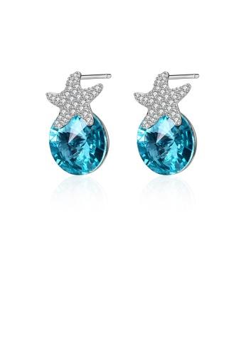 Glamorousky white 925 Sterling Silver Fashion Star Light Blue Austrian Element Crystal Stud Earrings F895DACEC9E2CCGS_1