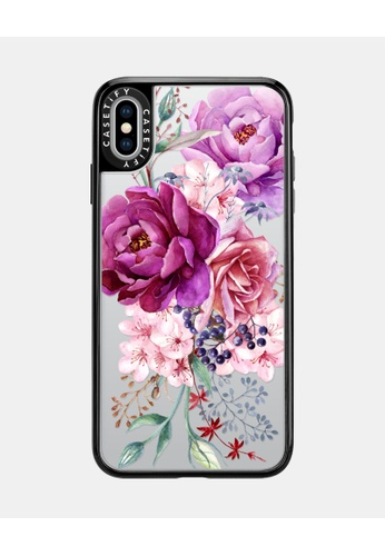 Casetify black and multi Purple Peony Watercolour Classic Grip Case for iPhone XS Max - Black 306E9AC73023BFGS_1