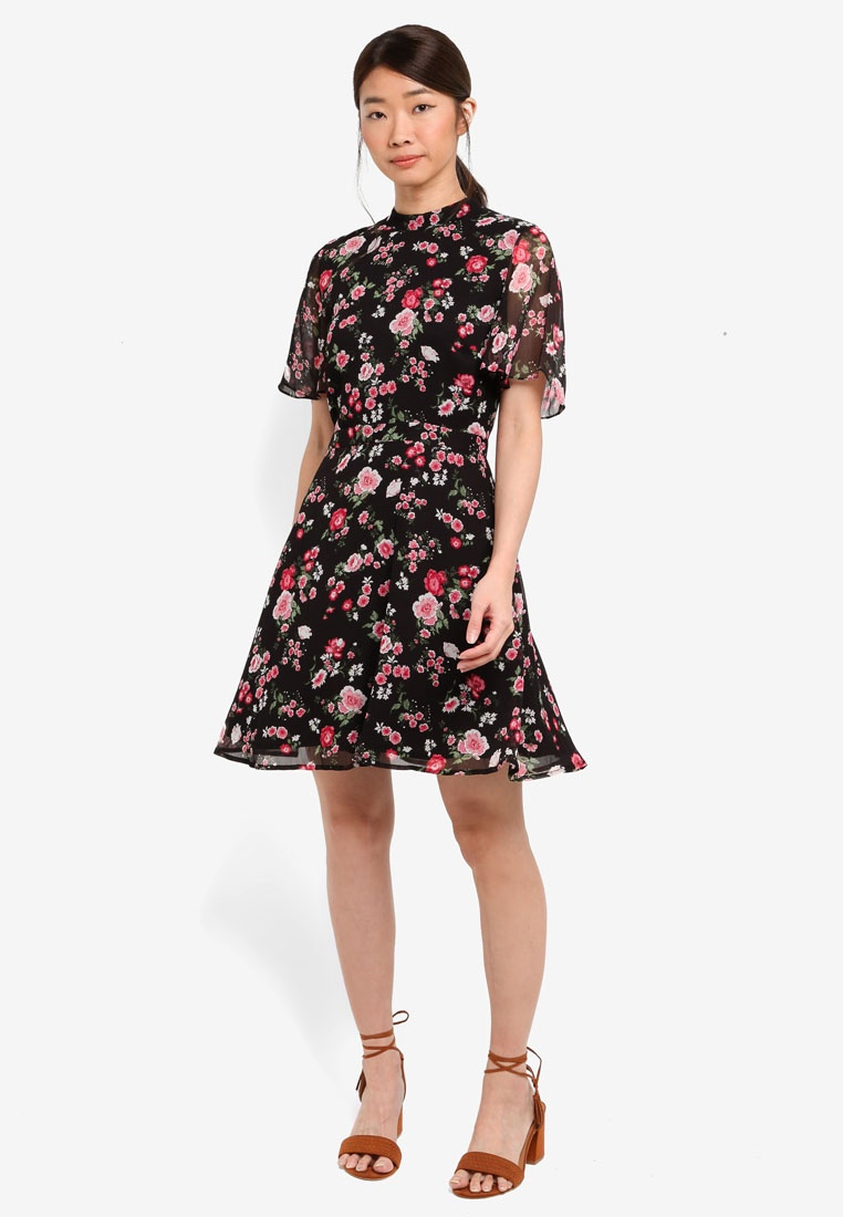 Black Blossom Garden Dress WAREHOUSE Pattern 66PBR0