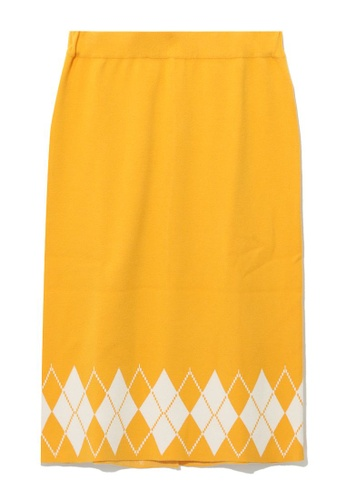 tout à coup yellow Checker knit pencil skirt 29A04AA643AD0EGS_1