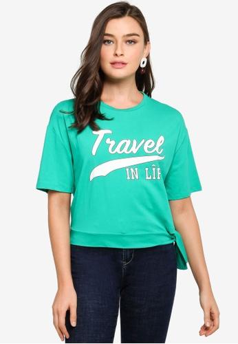 Hopeshow green Printed Slogan T-Shirt 375A2AA99FD69DGS_1