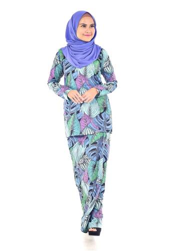 Assie Modesty green and blue and purple and multi and navy Evoke Lipat Batik Kurung E5151AAB2A51E2GS_1