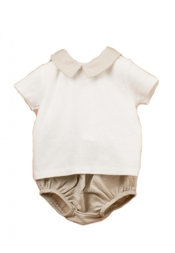 RAISING LITTLE white and brown Rebel Outfit Set AF0E3KA3D07C02GS_1