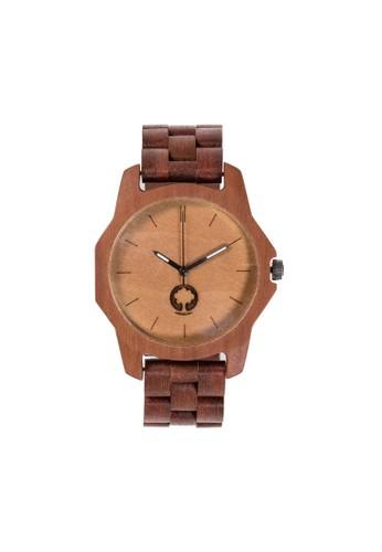 柔和系列活力橙紅檀木錶, 錶esprit home 台灣類, 時尚型