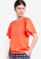 WAREHOUSE orange Pleated Sleeve Top WA653AA81LDIMY_1