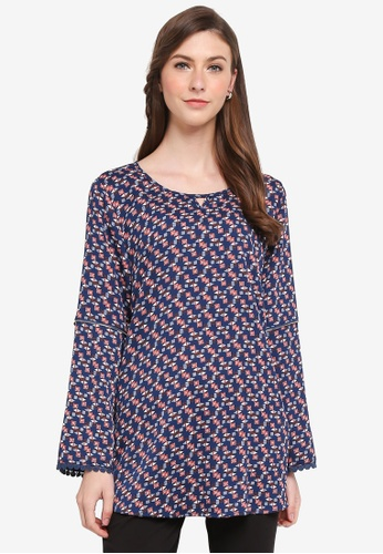 TOPGIRL blue Printed Blouse with Lace Hem 243D4AAF5B7CD5GS_1