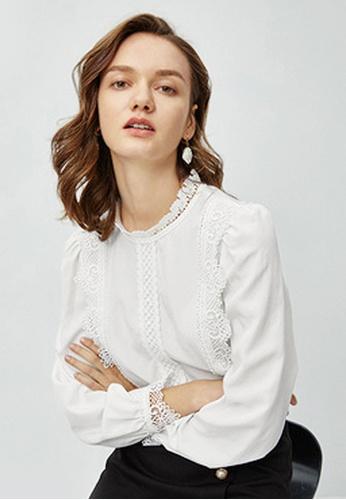 Twenty Eight Shoes white VANSA Lace Long Sleeves Blouse  VCW-Bs2920661 3EFE2AAEA06DA2GS_1