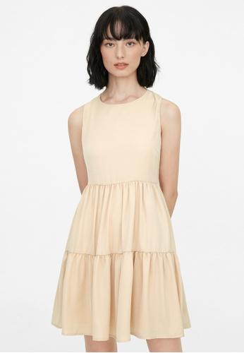 Pomelo beige Tier Layered Dress - Cream D5317AAFCD8F2AGS_1
