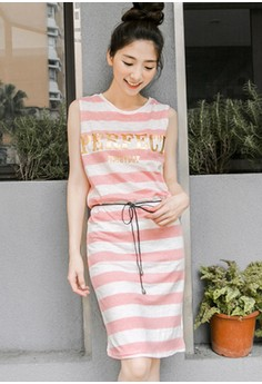 [IMPORTED] Everyday Perfect Striped Casual Dress - Pink