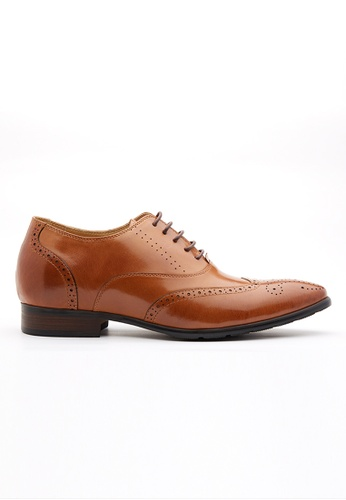 Kings Collection 褐色 巴倫增高皮鞋 (三吋) 2B74FSH7AFCE72GS_1