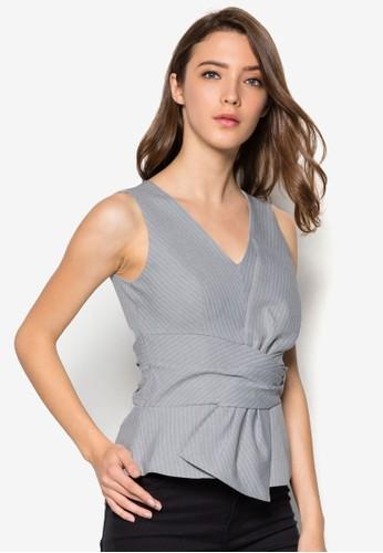 條紋褶飾無袖esprit outlet hk上衣, 服飾, 上衣