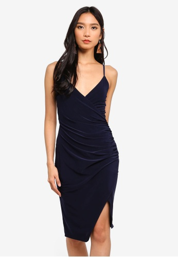 7eb6539eefd7 MISSGUIDED navy Strappy Slinky Wrap Bodycon Dress 21887AAE646162GS_1