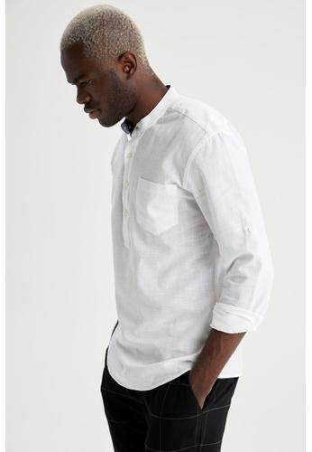 DeFacto white Man Woven Long Sleeve Shirt 7E3E2AA6D612F5GS_1