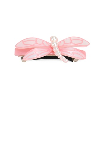 Glamorousky white Fashion Simple Pink Dragonfly Imitation Pearl Hair Slide 601EBAC2D43B3DGS_1