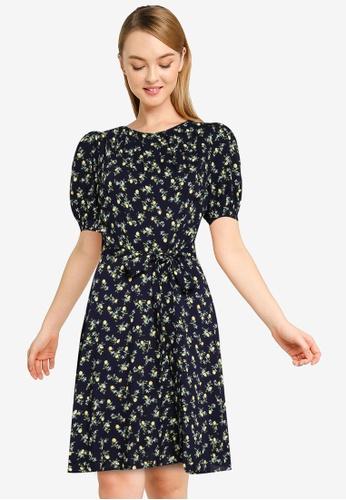 Dorothy Perkins blue Navy Lemon Conversational Print Puff Sleeve Pleat Neck Midi Dress A1A61AAAB47C2FGS_1