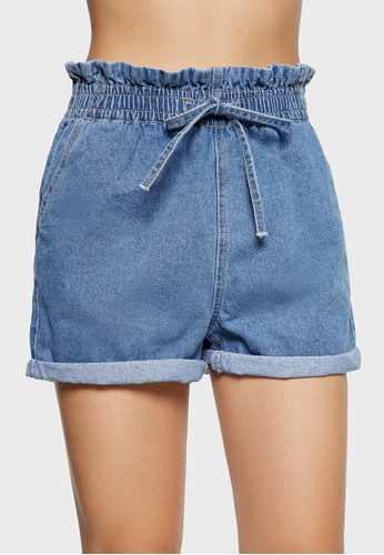6IXTY8IGHT blue GOPAL, Paperbag High Waisted Denim Shorts PN08925 945A9AA8762CC7GS_1