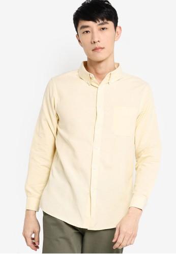 ZALORA BASICS yellow Regular Fit Button Down Oxford Shirt 9E515AA0A8F8EFGS_1