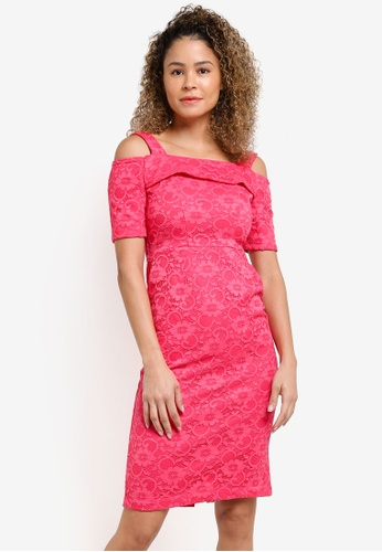 Dorothy Perkins pink Pink Cold Shoulder Lace Dress DO816AA27XIUMY_1