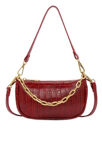 PLAYBOY BUNNY red Chain Croc Effect Baguette Bag 73316AC90D0794GS_1