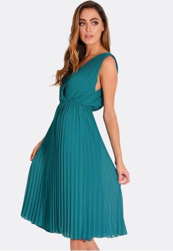 FORCAST green and blue Norah Pleated Dress DD39DAA4A23F2FGS_1