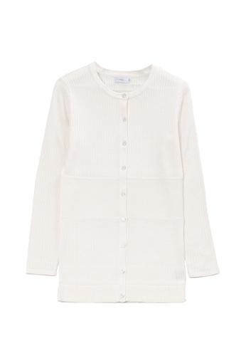 KLAPS 白色 美麗諾羊毛羅紋針織外套 616F5AA3024E75GS_1