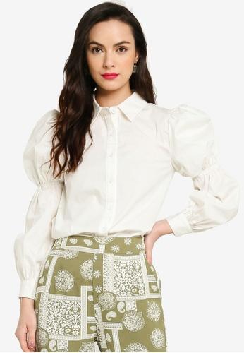 Zalia white Tiered Puff Sleeve Shirt 664F9AABC255A6GS_1