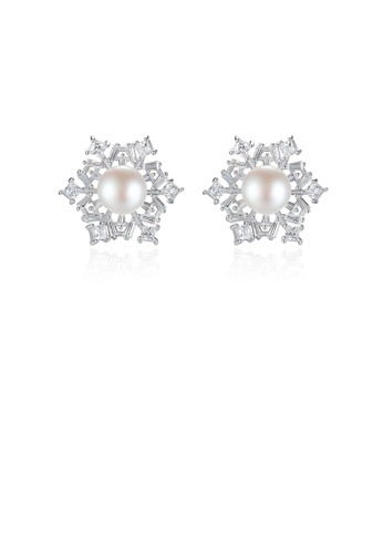 Glamorousky white 925 Sterling Silver Fashion Shining Snowflake White Freshwater Pearl Earrings with Cubic Zirconia 78389ACEC341A0GS_1