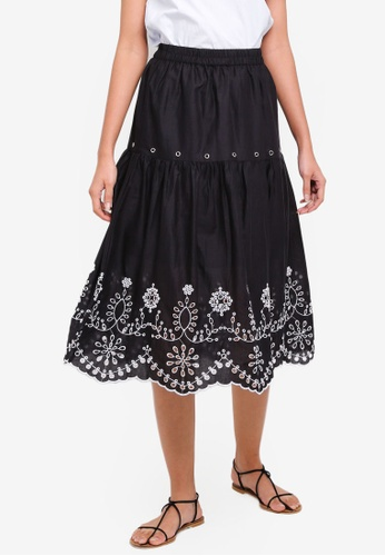 OVS black Floral Skirt With Embroidery EC422AA0CA178AGS_1