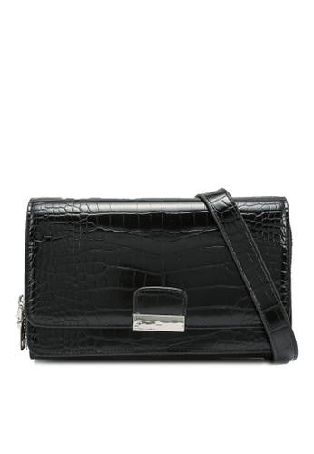nose black Faux Croco Print Crossbody Bag 11558AC6331005GS_1