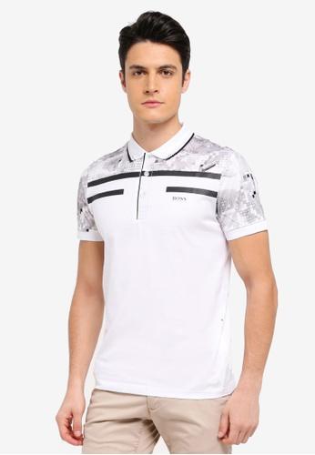 BOSS white Paule 3 Polo Shirt 53491AA1645F1DGS_1