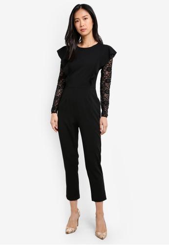 WAREHOUSE black Lace Insert Crepe Jumpsuit WA653AA0SBZIMY_1