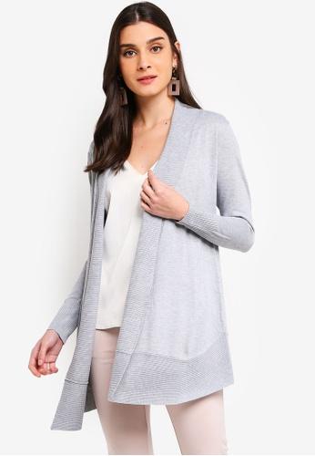 ZALORA 灰色 開襟針織罩衫 88727AA64EBC62GS_1