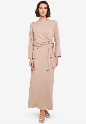ZALIA BASICS 米褐色 Side Draped Top With Skirt Set 180D3AA2095251GS_1