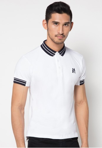 White Contrast 02 S/S Polo