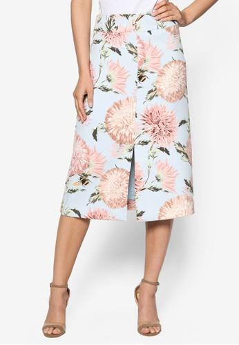 花卉及膝短裙, esprit地址服飾, 裙子