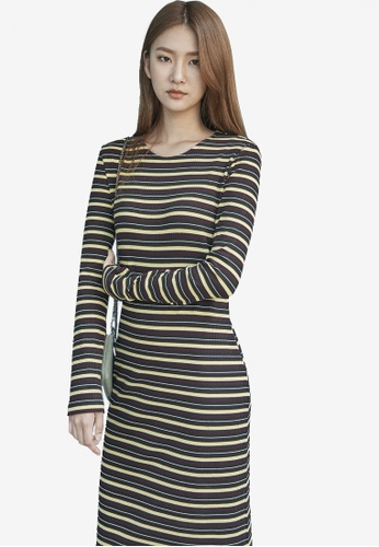 NAIN yellow Striped Long Sleeve Dress NA323AA0S6BXMY_1