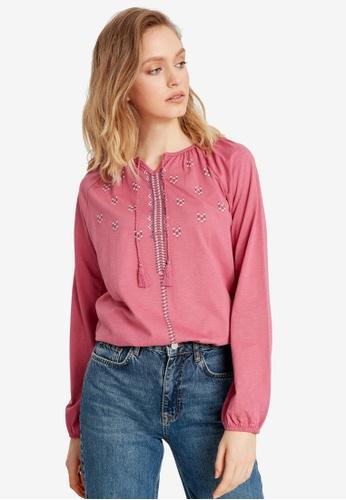 LC Waikiki pink Printed Collar Detailed Cotton T-Shirt D69ADAAFED749AGS_1