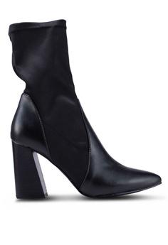 75710224713 NA-KD black Pu Satin Sock Boots A13B0SHD7C8794GS 1