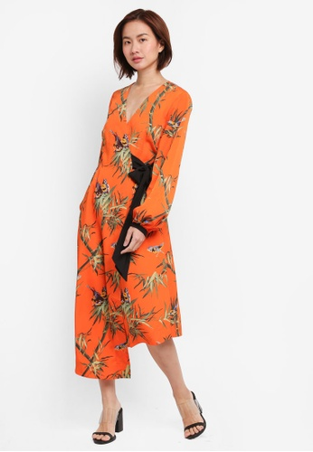 WAREHOUSE orange Songbird Wrap Midi Dress 1946FAA9A5DDC6GS_1