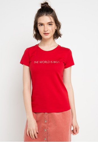 Giordano red Message T-Shirt 29437AA2AB32DCGS_1